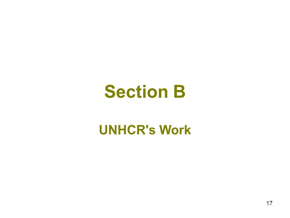 17 Section B UNHCR s Work