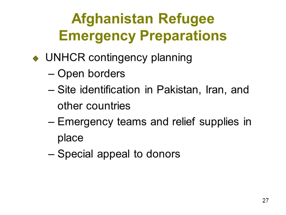 27 Afghanistan Refugee Emergency Preparations UNHCR contingency planning – Open borders – Site identification in Pakistan, Iran, and other countries – Emergency teams and relief supplies in place – Special appeal to donors