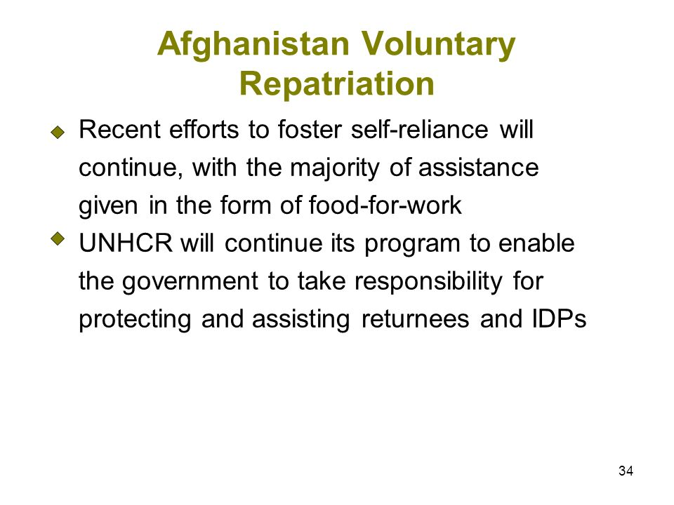 34 Afghanistan Voluntary Repatriation Recent efforts to foster self-reliance will continue, with the majority of assistance given in the form of food-for-work UNHCR will continue its program to enable the government to take responsibility for protecting and assisting returnees and IDPs