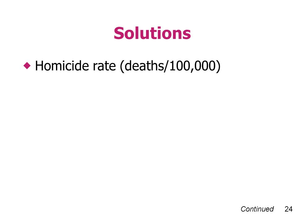 Continued 24 Solutions Homicide rate (deaths/100,000)