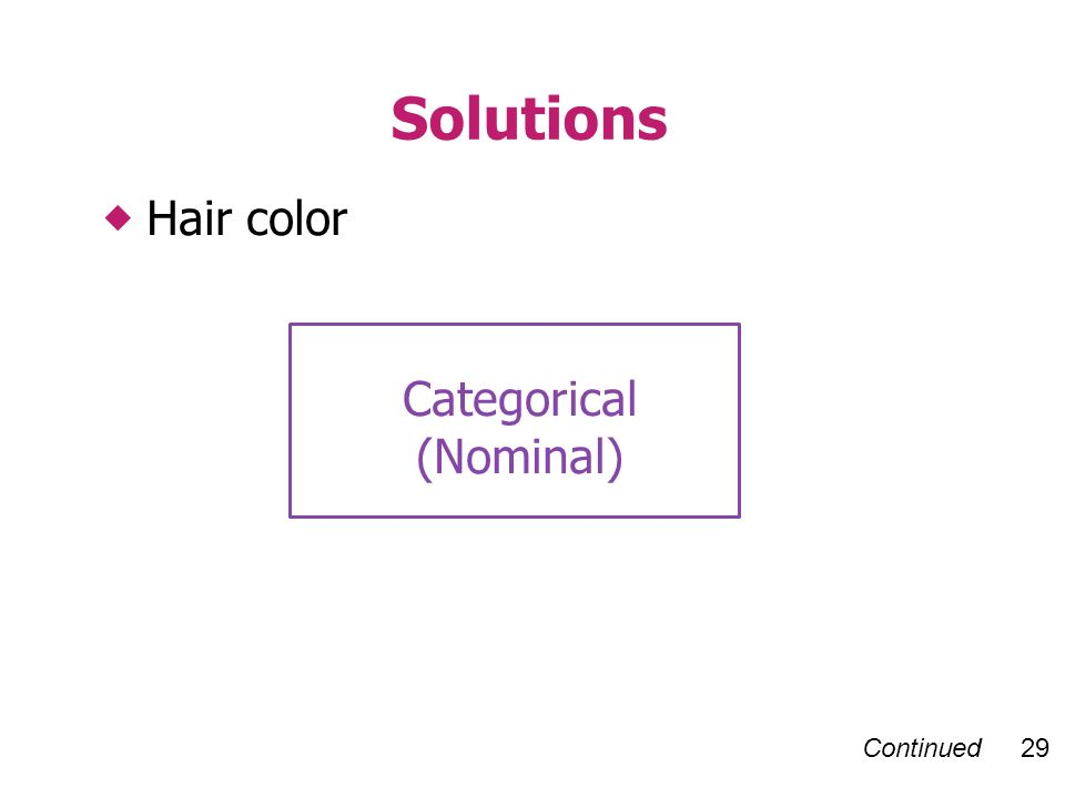 Continued 29 Hair color Solutions Categorical (Nominal)