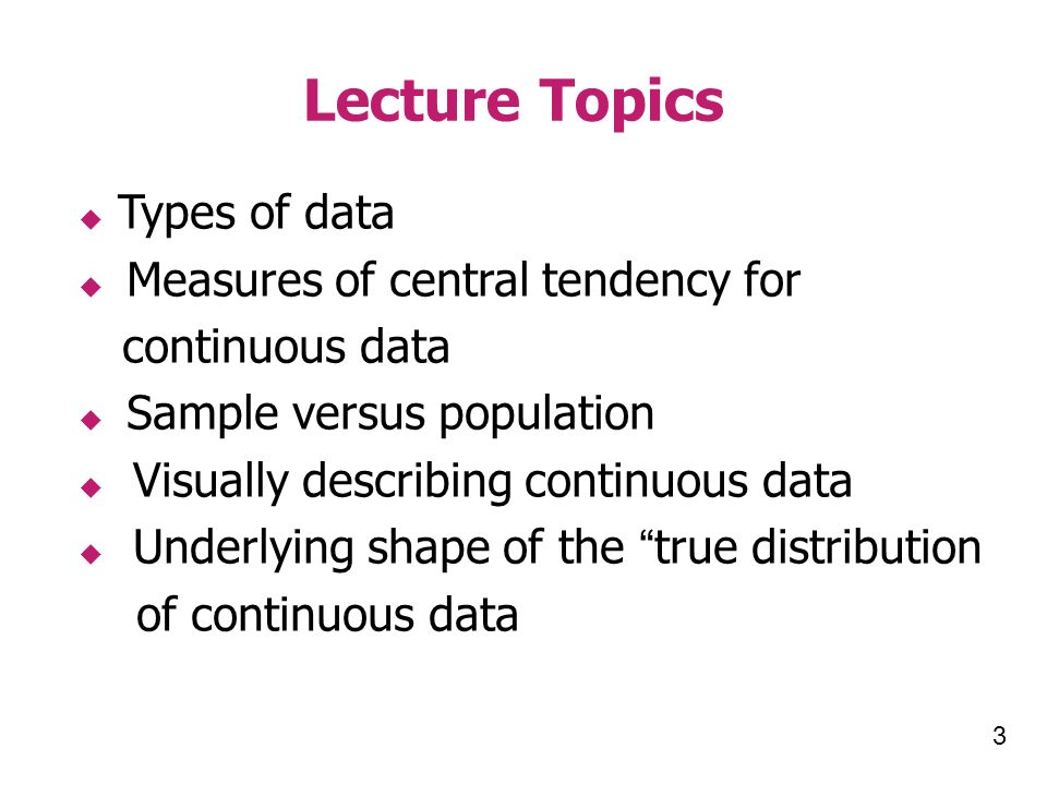 JOHNS HOPKINS BLOOMBERG SCHOOL of PUBLIC HEALTH Section A Types of Data