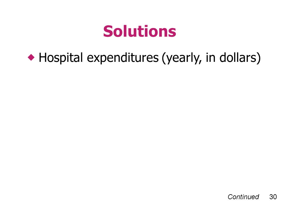 Continued 30 Hospital expenditures (yearly, in dollars) Solutions