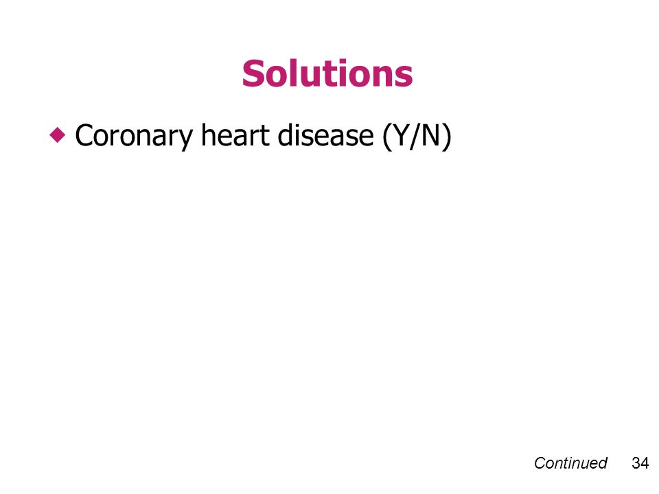 Continued 34 Coronary heart disease (Y/N) Solutions