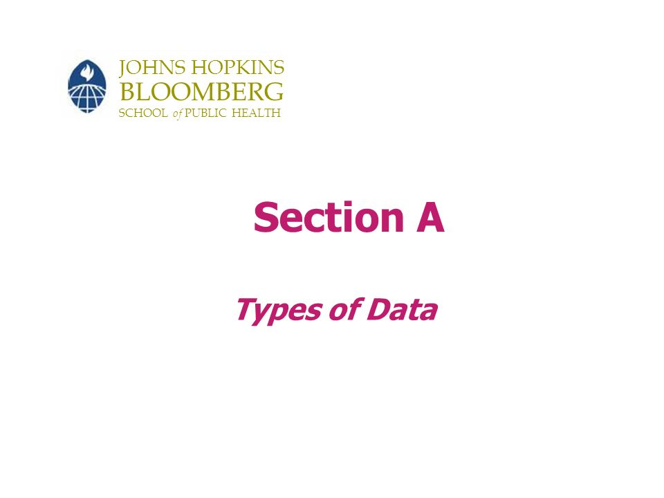 Continued 15 Types of Data Binary (dichotomous) data – Yes/No – Polio Yes/No – Cure Yes/No –GenderMale/Female