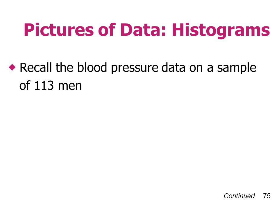 Continued 75 Pictures of Data: Histograms Recall the blood pressure data on a sample of 113 men