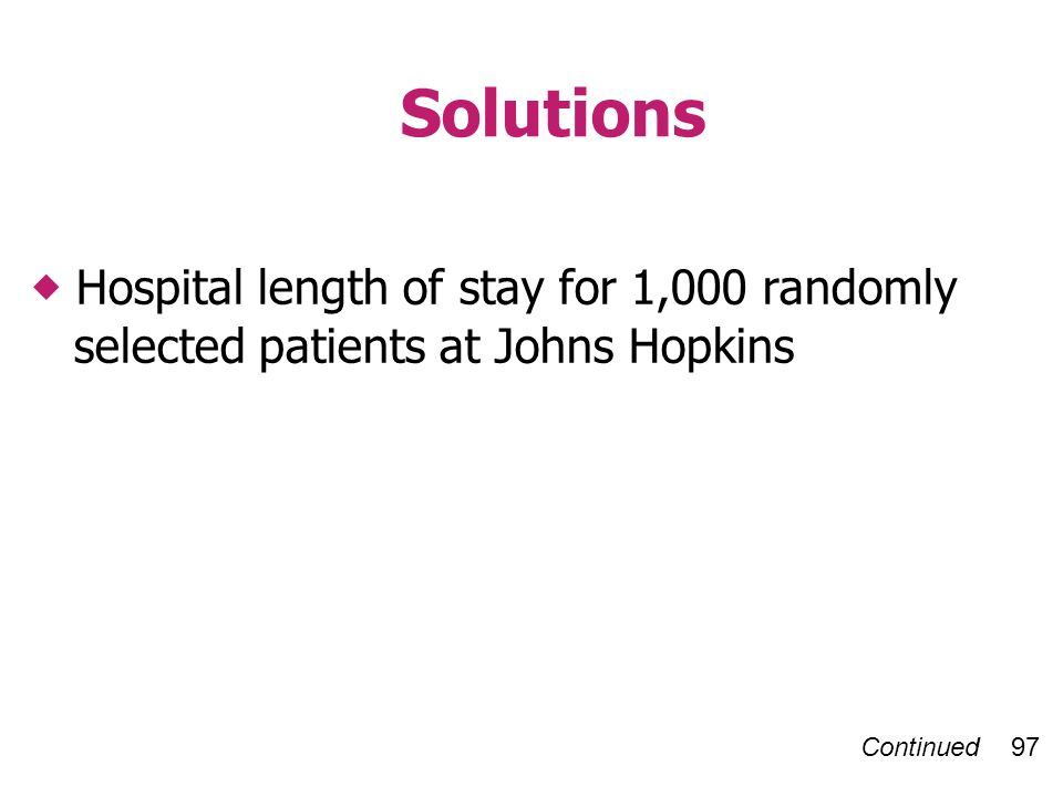 Continued 97 Solutions Hospital length of stay for 1,000 randomly selected patients at Johns Hopkins