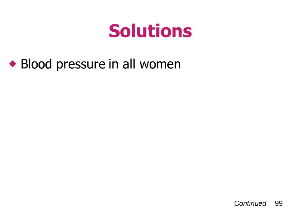 Continued 99 Solutions Blood pressure in all women