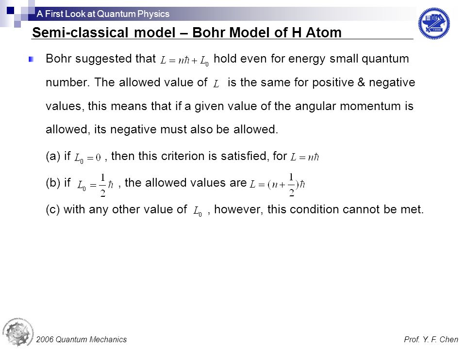 Bohr suggested that hold even for energy small quantum number. The allowed value of is the same for positive & negative values, this means that if a g