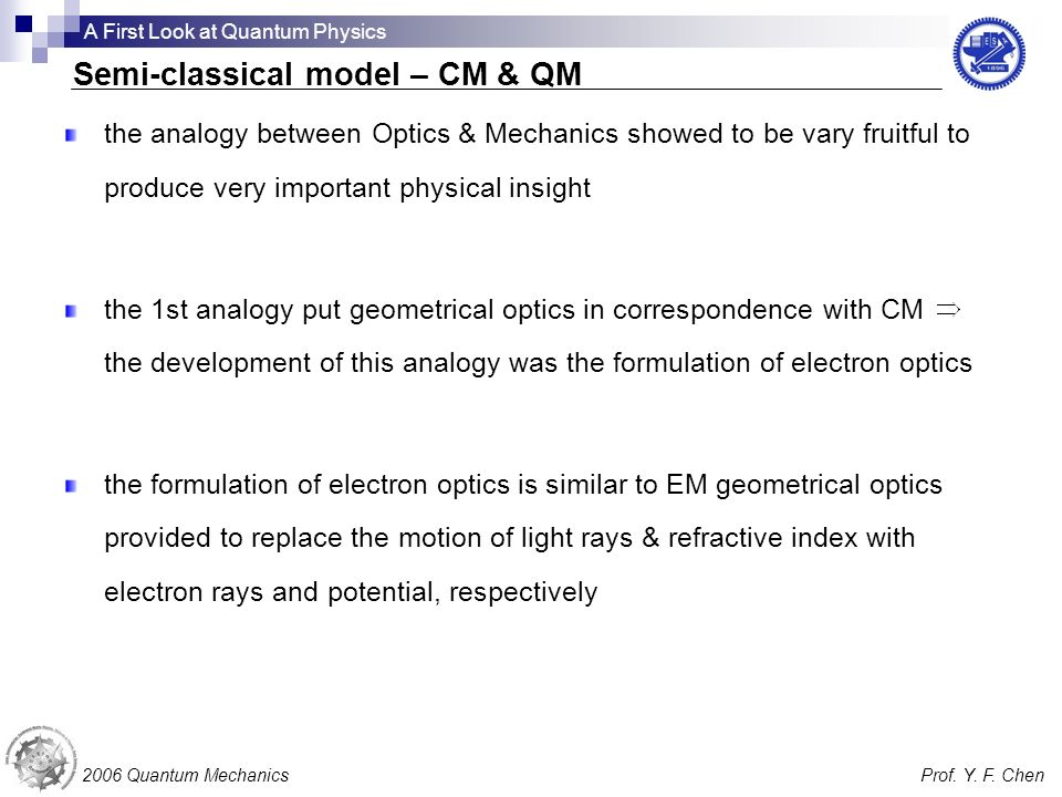 the analogy between Optics & Mechanics showed to be vary fruitful to produce very important physical insight the 1st analogy put geometrical optics in correspondence with CM the development of this analogy was the formulation of electron optics the formulation of electron optics is similar to EM geometrical optics provided to replace the motion of light rays & refractive index with electron rays and potential, respectively 2006 Quantum MechanicsProf.