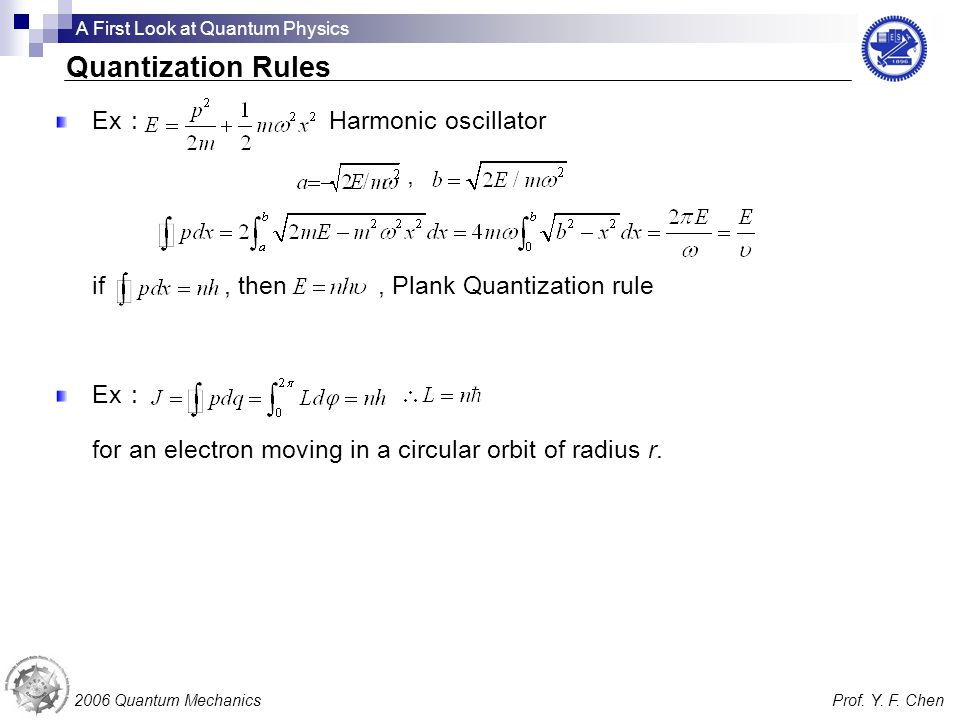 Ex Harmonic oscillator, if, then, Plank Quantization rule Ex for an electron moving in a circular orbit of radius r. 2006 Quantum MechanicsProf. Y. F.