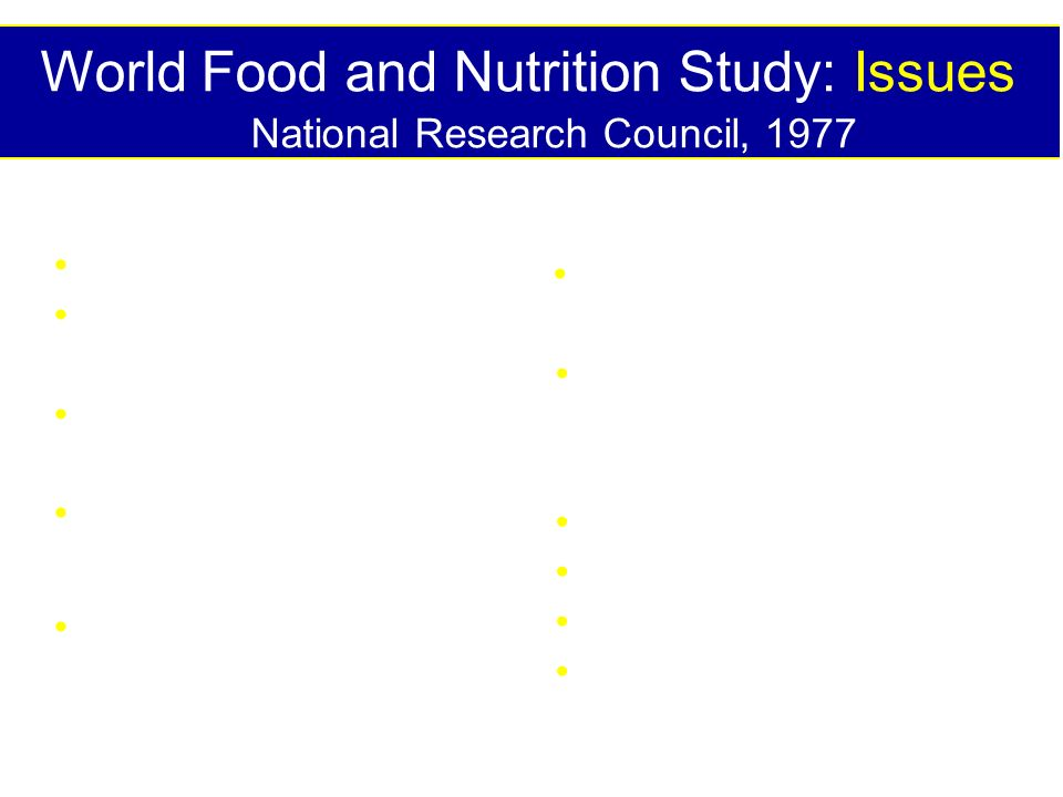 World Food and Nutrition Study: Issues National Research Council, 1977 Nutrition-performance Roles of dietary components Policies affecting nutrition Nutrition intervention programs Plant breeding & genetic manipulation Biological nitrogen fixation Resistance to environmental stresses Pest management Weather & Climate Irrigation & water mgt Fertilizer sources