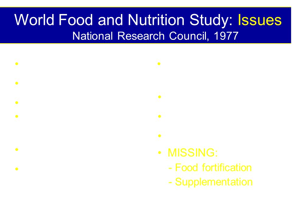 World Food and Nutrition Study: Issues National Research Council, 1977 Ruminant livestock Aquatic food sources Farm prodn systems Post harvest food lo