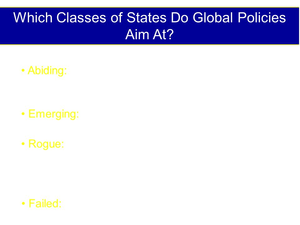 Which Classes of States Do Global Policies Aim At? Abiding:Established, recognized and governed by conventional civil laws; both developed and develop