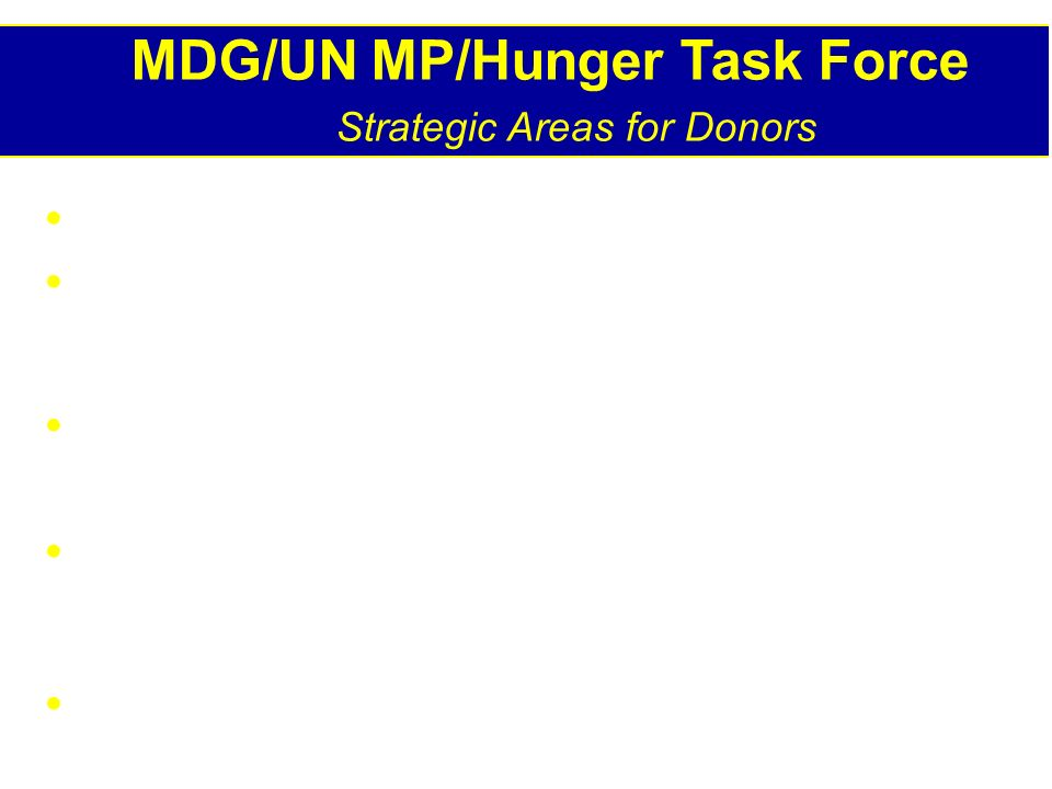 MDG/UN MP/Hunger Task Force Strategic Areas for Donors Raise food productivity of small farmers Improve diet through improved crop mixes Micronutrient supplementation & fortification Target strategies toward vulnerable groups Adequate delivery of emergency relief