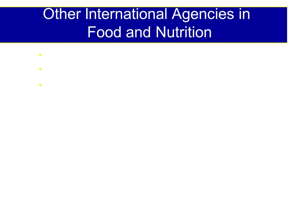 Other International Agencies in Food and Nutrition Bilaterals: eg, USAID, DFID, AusAID, GTZ Bilateral-funded projects: FANTA, IFPRI, BASICS INGOs: CARE (Cooperative for American Relief Everywhere) CRS (Catholic Relief Services); International Red Cross Red Crescent Society Save the Children Helen Keller International Concern ( see Global Health Council Directory for US-based agencies)
