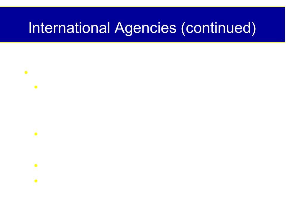 International Agencies (continued) Consultative Groups/ Societies/Lobbyists: Intl Vitamin A Consultative Group (IVACG) Intl Nutritional Anemia Consult