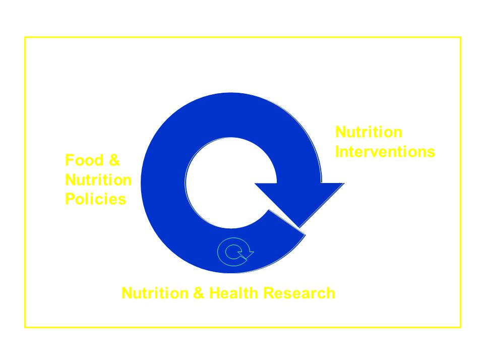 Political, Financial, Cultural Realities Food & Nutrition Policies Nutrition Interventions Nutrition & Health Research
