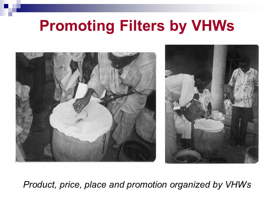 Promoting Filters by VHWs Product, price, place and promotion organized by VHWs