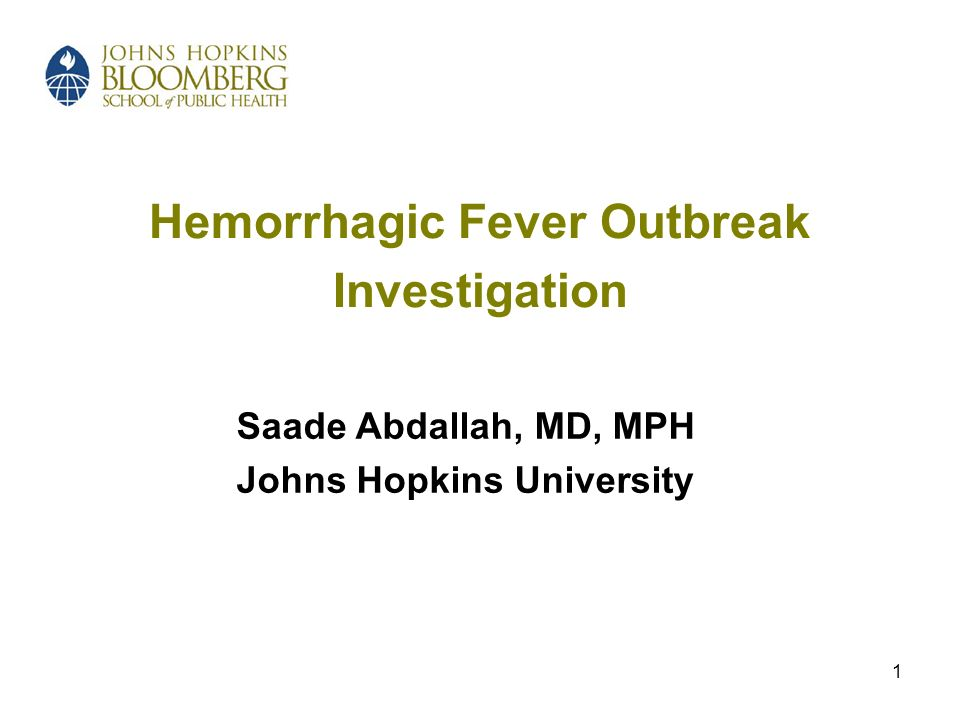 1 Hemorrhagic Fever Outbreak Investigation Saade Abdallah, MD, MPH Johns Hopkins University