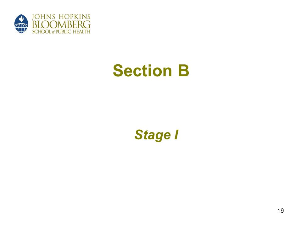 19 Section B Stage I