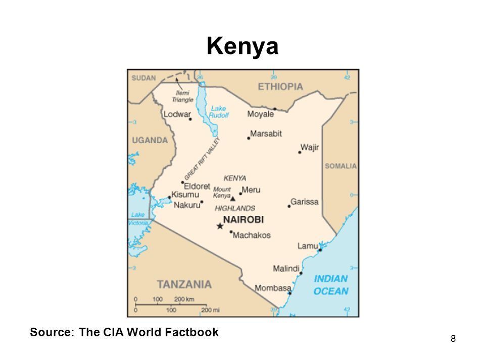 8 Kenya Source: The CIA World Factbook