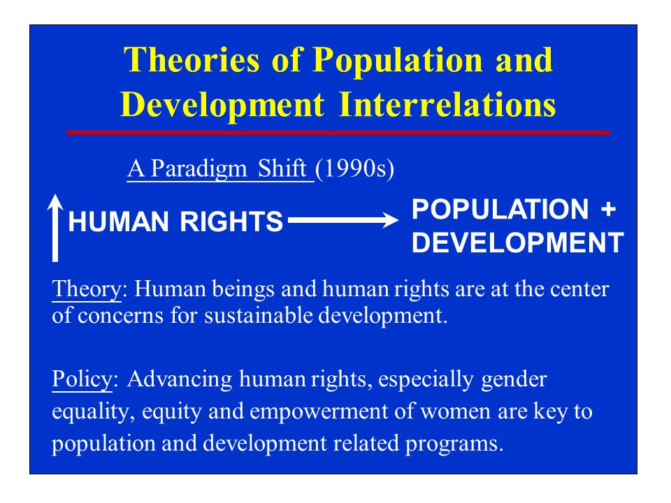 Theories of Population and Development Interrelations Theory: Human beings and human rights are at the center of concerns for sustainable development.