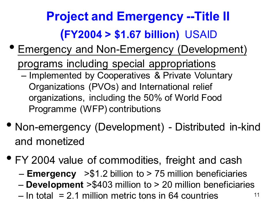 Project and Emergency --Title II ( FY2004 > $1.67 billion)USAID Emergency and Non-Emergency (Development) programs including special appropriations – Implemented by Cooperatives & Private Voluntary Organizations (PVOs) and International relief organizations, including the 50% of World Food Programme (WFP) contributions Non-emergency (Development) - Distributed in-kind and monetized FY 2004 value of commodities, freight and cash – Emergency >$1.2 billion to > 75 million beneficiaries – Development >$403 million to > 20 million beneficiaries – In total = 2.1 million metric tons in 64 countries 11