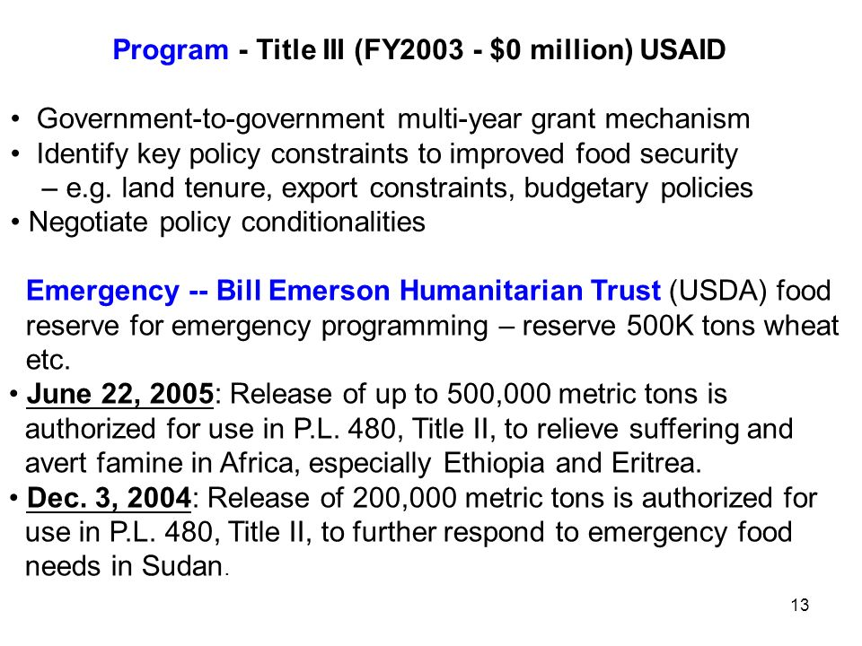 Program - Title III (FY $0 million) USAID Government-to-government multi-year grant mechanism Identify key policy constraints to improved food security – e.g.