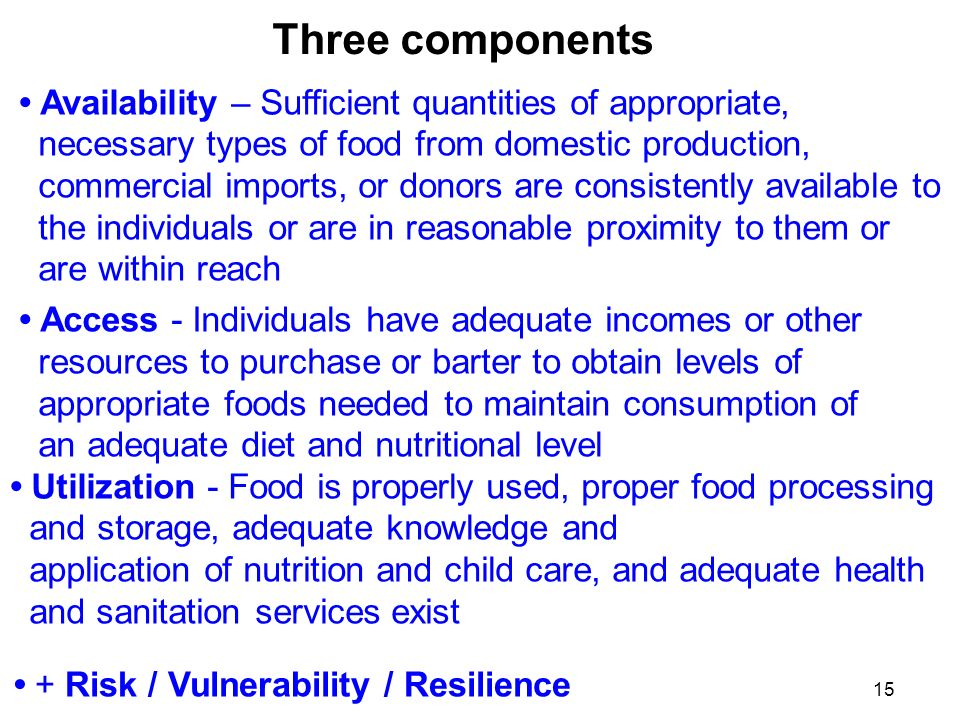 Three components Availability – Sufficient quantities of appropriate, necessary types of food from domestic production, commercial imports, or donors are consistently available to the individuals or are in reasonable proximity to them or are within reach Access - Individuals have adequate incomes or other resources to purchase or barter to obtain levels of appropriate foods needed to maintain consumption of an adequate diet and nutritional level Utilization - Food is properly used, proper food processing and storage, adequate knowledge and application of nutrition and child care, and adequate health and sanitation services exist + Risk / Vulnerability / Resilience 15