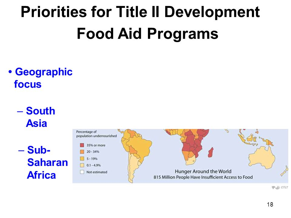 Priorities for Title II Development Food Aid Programs Geographic focus – South Asia – Sub- Saharan Africa 18