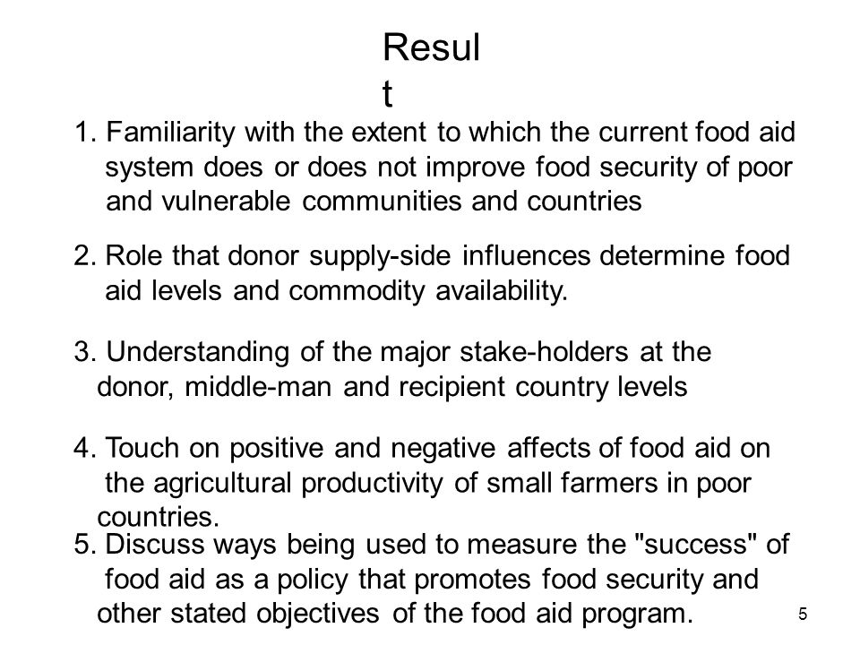 Resul t 1.Familiarity with the extent to which the current food aid system does or does not improve food security of poor and vulnerable communities a