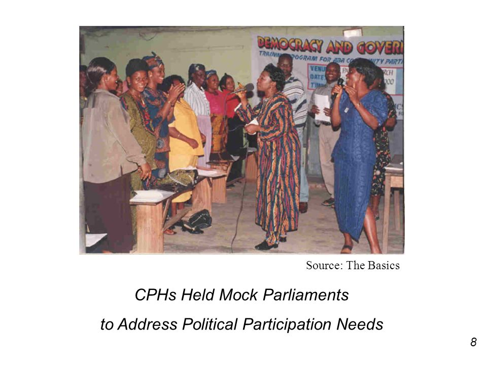 Source: The Basics CPHs Held Mock Parliaments to Address Political Participation Needs 8