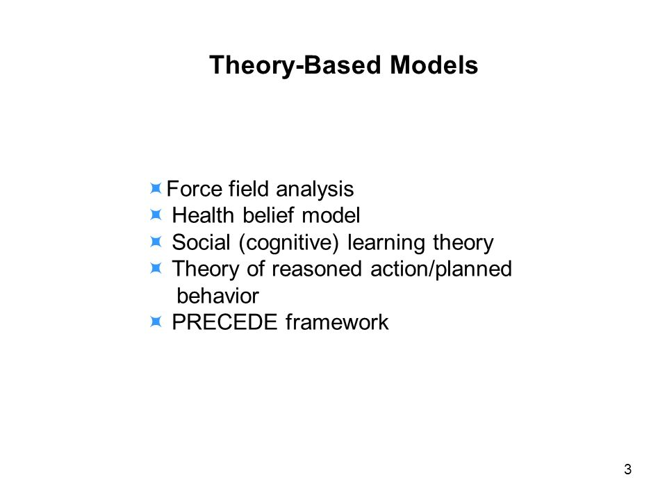 Force field analysis Health belief model Social (cognitive) learning theory Theory of reasoned action/planned behavior PRECEDE framework 3