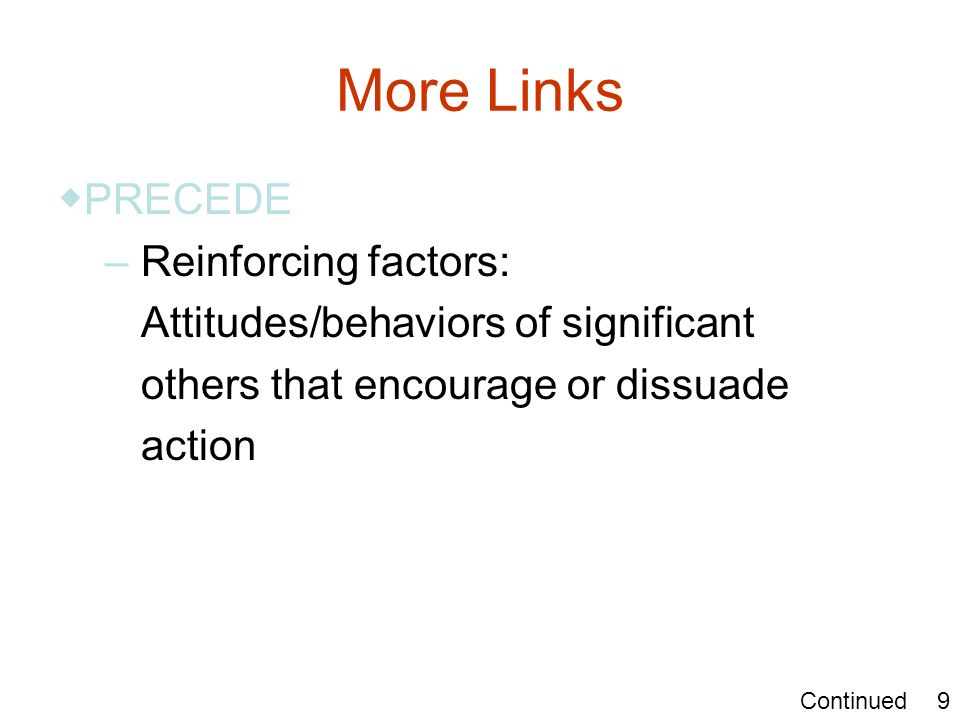 More Links PRECEDE – Reinforcing factors: Attitudes/behaviors of significant others that encourage or dissuade action 9Continued