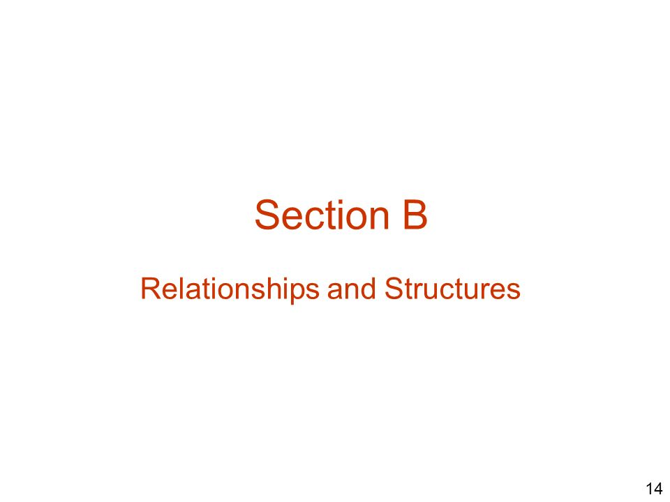 Section B Relationships and Structures 14
