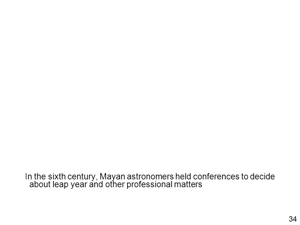 In the sixth century, Mayan astronomers held conferences to decide about leap year and other professional matters 34