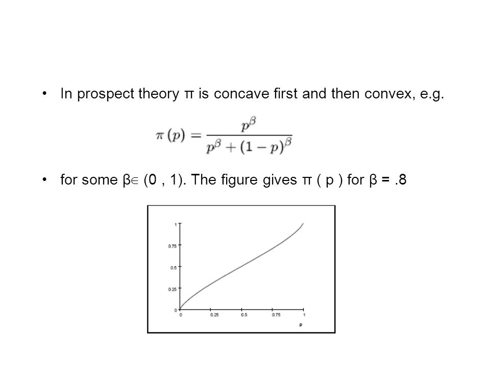 In prospect theory π is concave first and then convex, e.g.