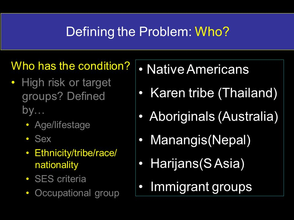 Defining the Problem: Who? Native Americans Karen tribe (Thailand) Aboriginals (Australia) Manangis(Nepal) Harijans(S Asia) Immigrant groups Who has t