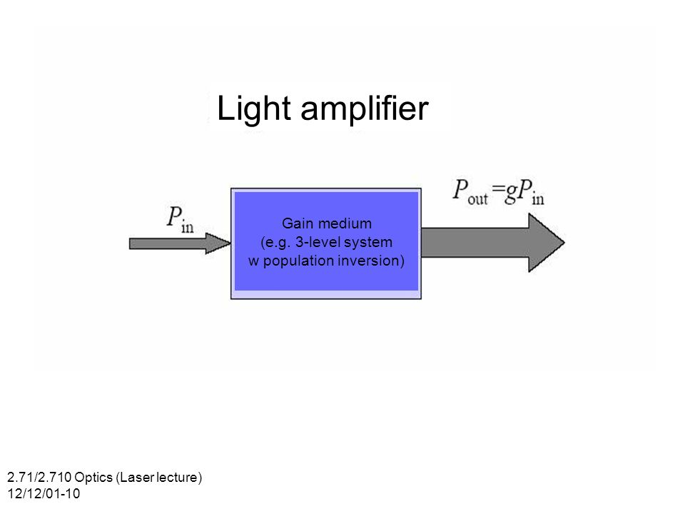 2.71/2.710 Optics (Laser lecture) 12/12/01-10 Light amplifier Gain medium (e.g.