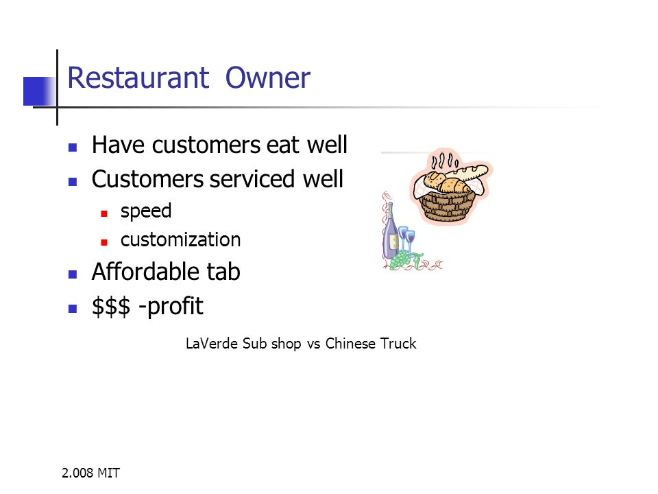 2.008 MIT Restaurant Owner Have customers eat well Customers serviced well speed customization Affordable tab $$$ -profit LaVerde Sub shop vs Chinese