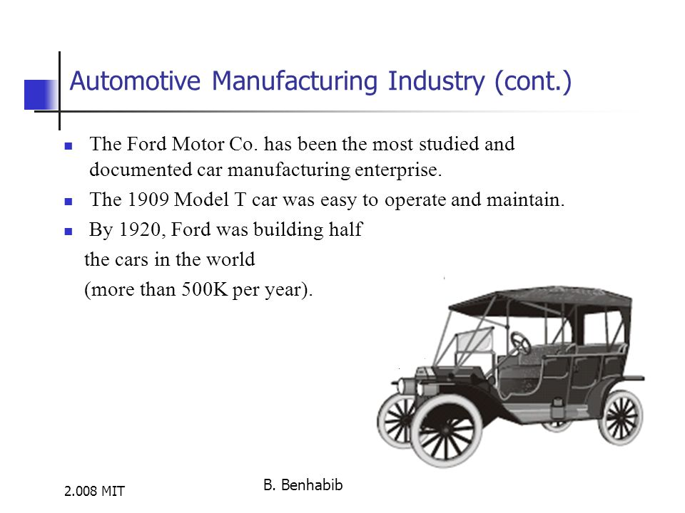 2.008 MIT Automotive Manufacturing Industry (cont.) The Ford Motor Co.