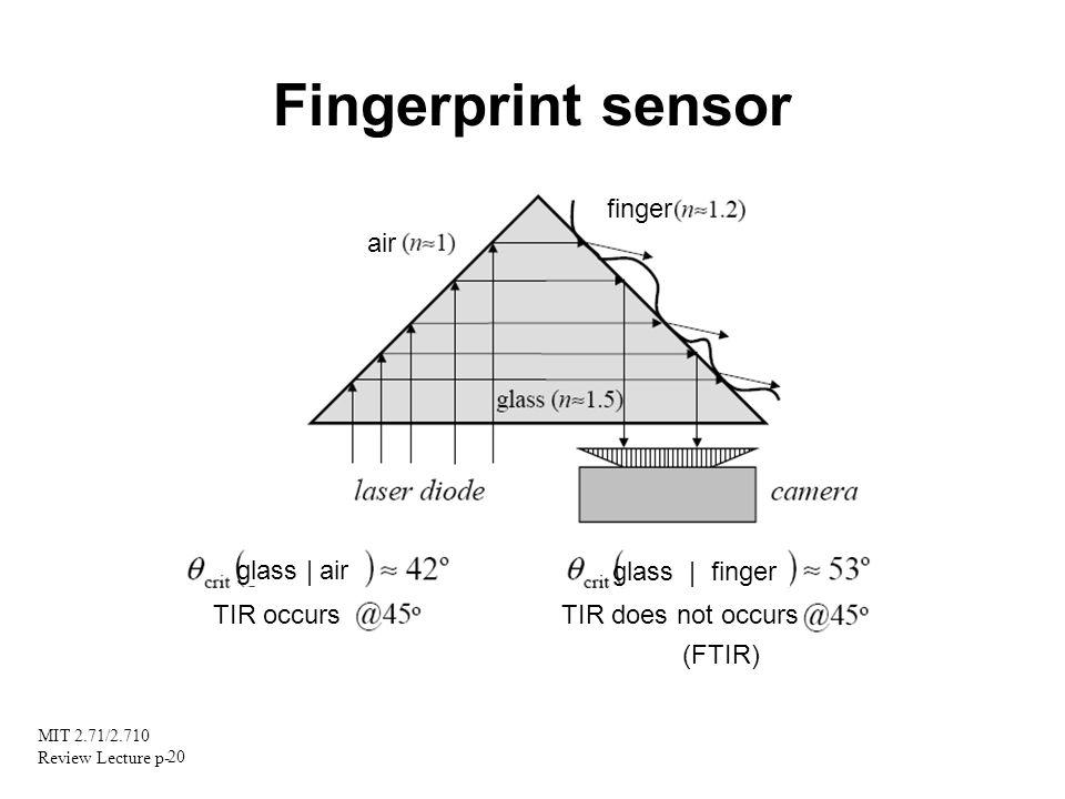 MIT 2.71/2.710 Review Lecture p- 20 Fingerprint sensor air finger glass | air glass | finger TIR occurs TIR does not occurs (FTIR)