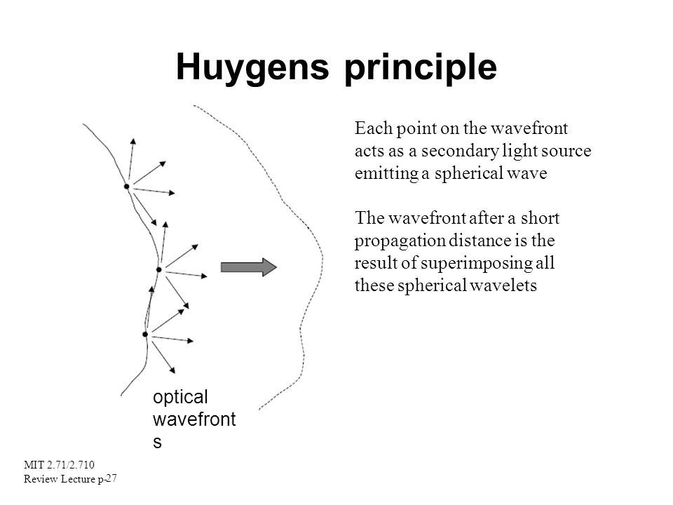 MIT 2.71/2.710 Review Lecture p- 27 Huygens principle Each point on the wavefront acts as a secondary light source emitting a spherical wave The wavef