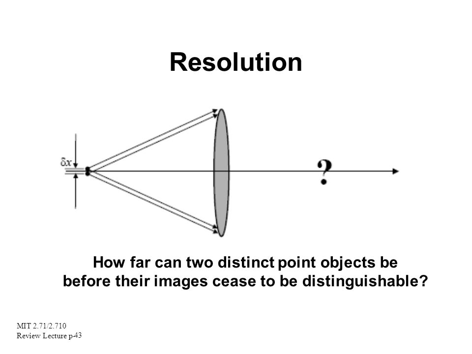 MIT 2.71/2.710 Review Lecture p- 43 Resolution How far can two distinct point objects be before their images cease to be distinguishable?
