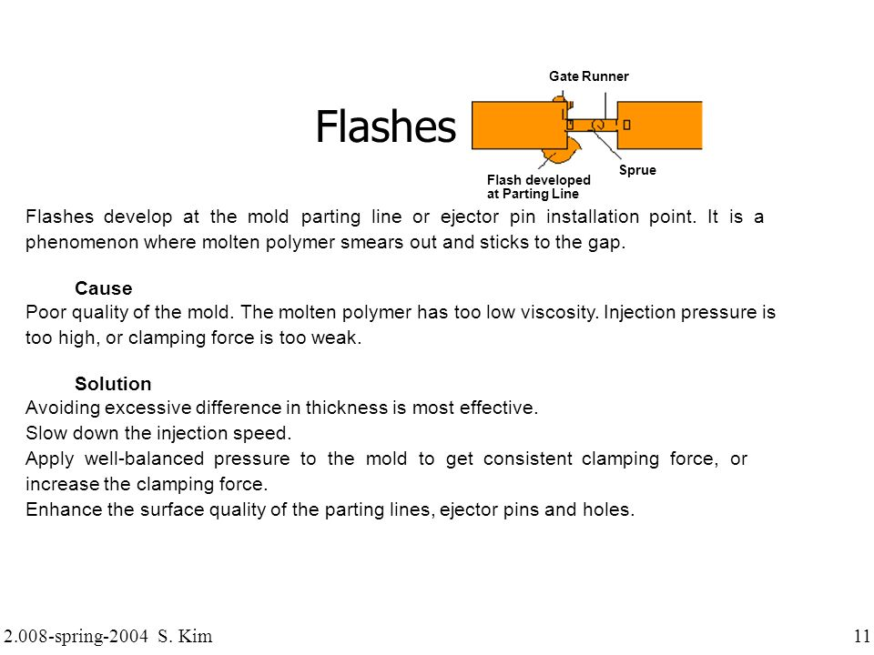 2.008-spring-2004 S. Kim 11 Flashes Flashes develop at the mold parting line or ejector pin installation point. It is a phenomenon where molten polyme