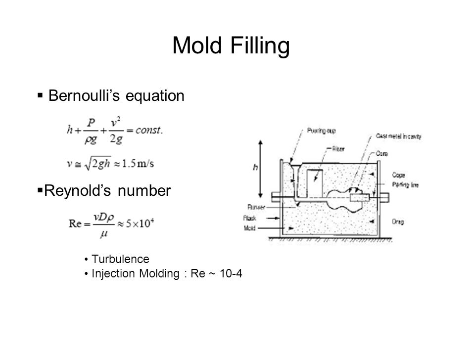 Mold Filling Bernoullis equation Reynolds number Turbulence Injection Molding : Re ~ 10-4
