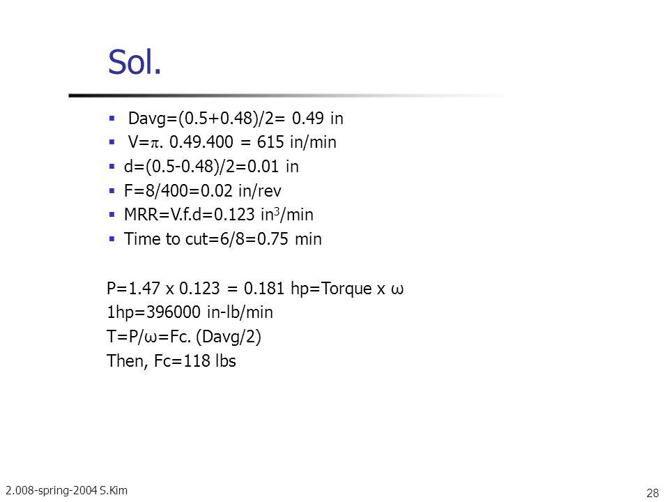 2.008-spring-2004 S.Kim 28 Sol. Davg=(0.5+0.48)/2= 0.49 in V= π. 0.49.400 = 615 in/min d=(0.5-0.48)/2=0.01 in F=8/400=0.02 in/rev MRR=V.f.d=0.123 in 3