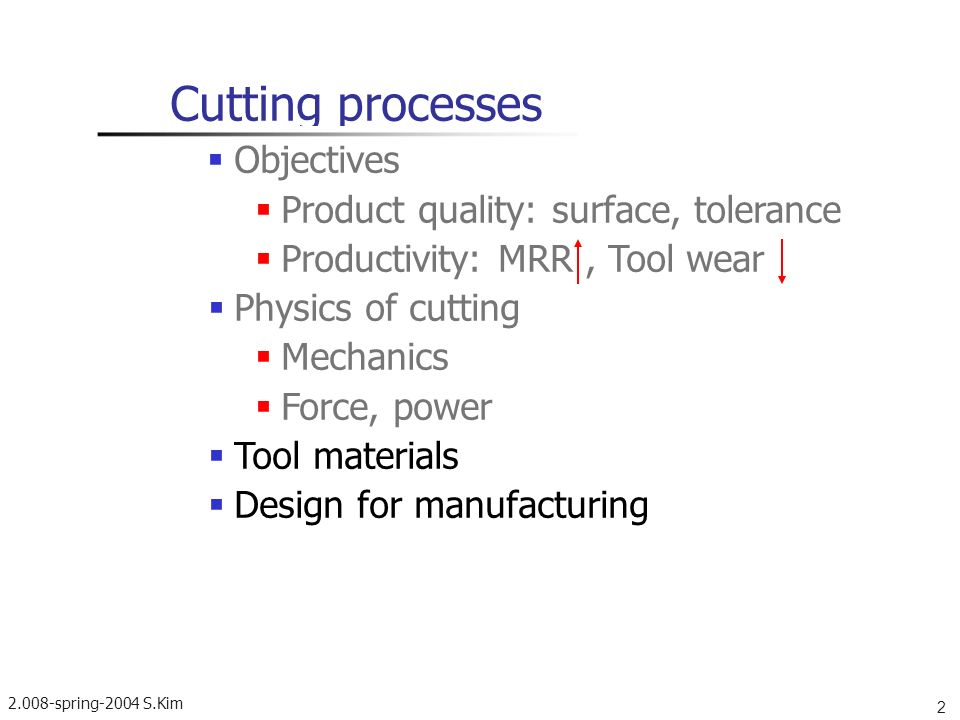 2.008-spring-2004 S.Kim 4 Velocity diagram in cutting zone Cutting ratio: r <1