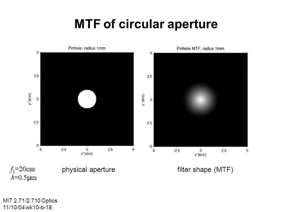 MIT 2.71/2.710 Optics 11/10/04 wk10-b-18 MTF of circular aperture physical aperturefilter shape (MTF)